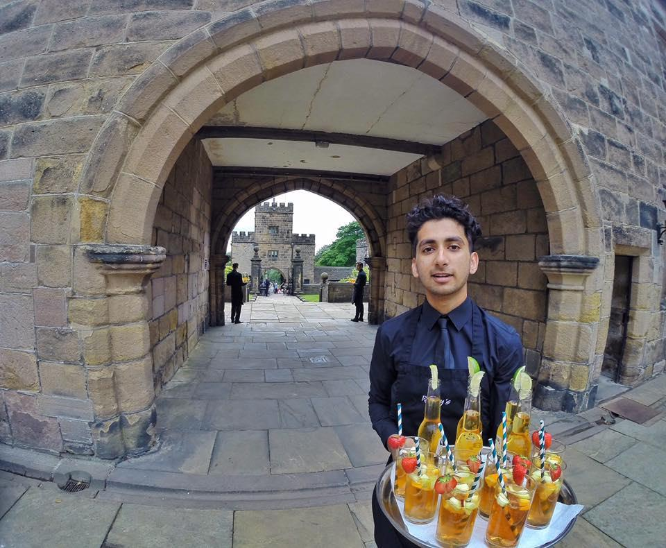 reception drinks being served at hoghton tower